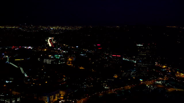 over universal city, california, at night. shot in october 2010. - universal city stock videos & royalty-free footage