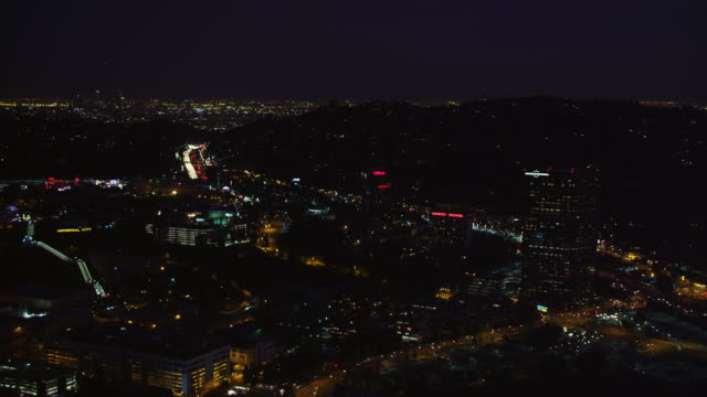 Over Universal City, California, at night. Shot in October 2010.
