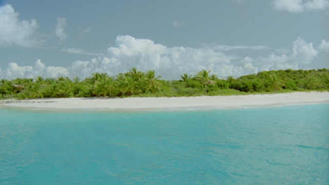 aerial over water towards deserted tropical beach with palm trees / sandy cay, british virgin islands - 無人島点の映像素材/bロール