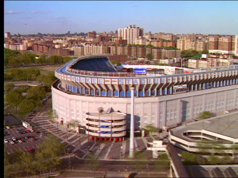 aerial over yankee stadium in the bronx - 2001 stock videos and b-roll footage