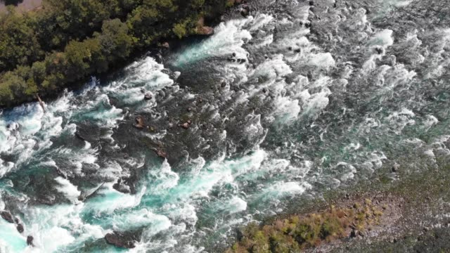 overflying petrohue river in los lagos region, southern chile - rapid stock videos & royalty-free footage