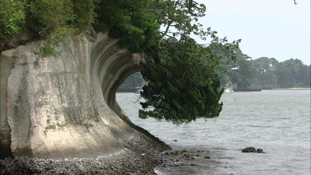 MS Overhanging cliff in Matsushima bay / Matsushima, Miyagi, Japan