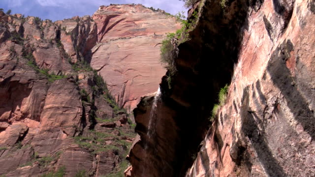 overhanging waterfall against red sandstone and blue sky in Zion canyon Utah