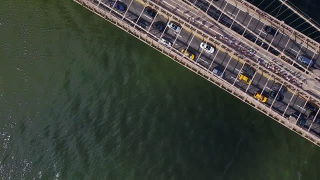overhead aerial, brooklyn bridge in new york - international landmark stock videos & royalty-free footage