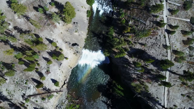 overhead aerial, cascading waterfall in california - western usa stock videos & royalty-free footage