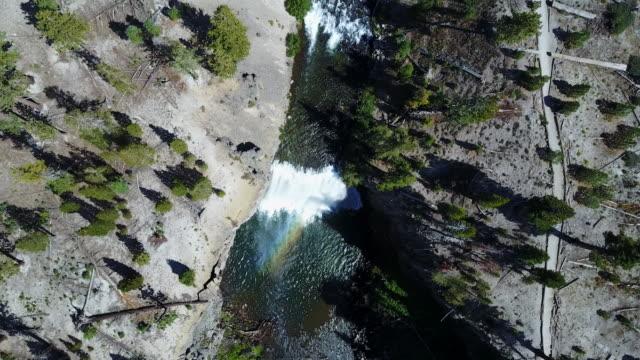 overhead aerial, cascading waterfall in california - westliche bundesstaaten der usa stock-videos und b-roll-filmmaterial