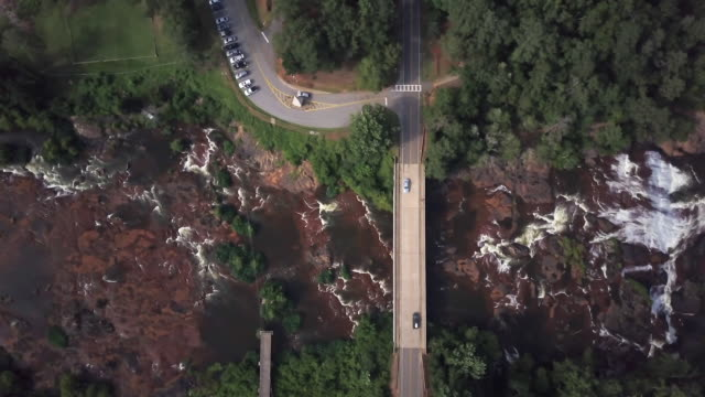 Overhead aerial, dam in rural Georgia