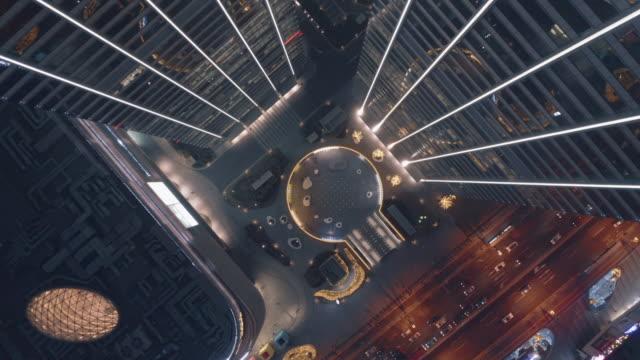 Overhead Aerial Flight Over Rooftops Skyscrapers, Urban Landscape