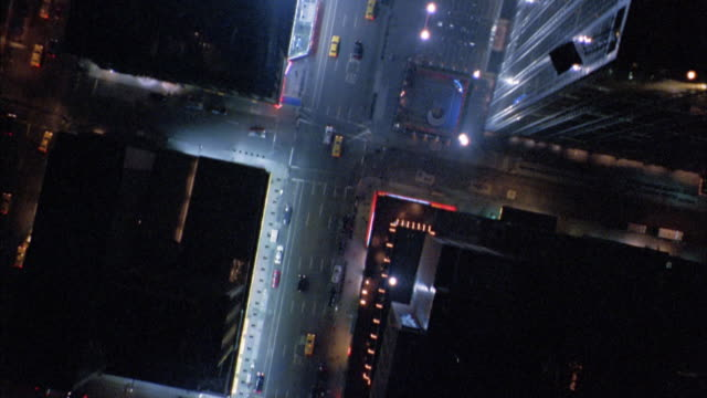 overhead aerial over times square - broadway manhattan stock-videos und b-roll-filmmaterial