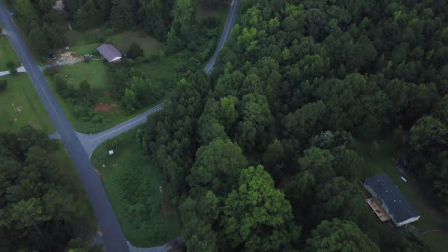 overhead aerial, rural roadway in georgia - georgia country stock videos and b-roll footage