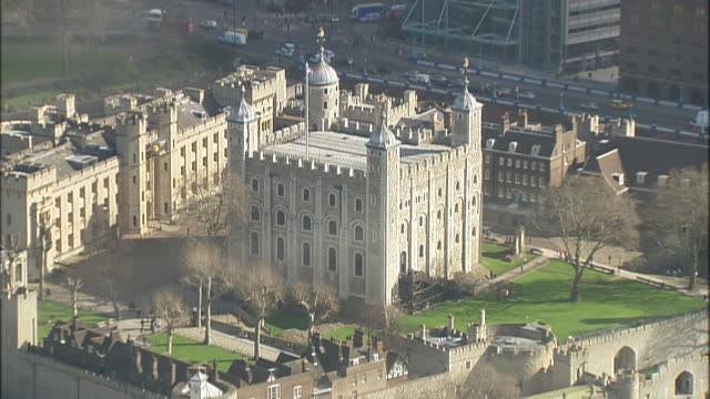 overhead aerial shot of the tower of london in london england - aerial or drone pov or scenics or nature or cityscape stock videos & royalty-free footage