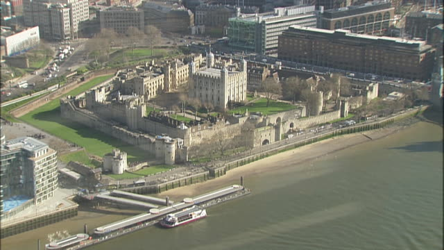overhead aerial shot of tower of london london england - aerial or drone pov or scenics or nature or cityscape stock videos & royalty-free footage