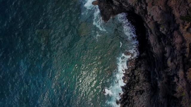 overhead aerial, waves crash on shore in hawaii - coastline stock videos & royalty-free footage