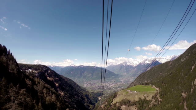 Overhead cable car moving down