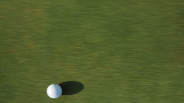 vidéos et rushes de overhead close up, golf ball rolls over grass - balle de golf