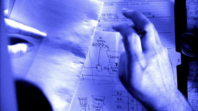 vídeos y material grabado en eventos de stock de overhead close up zoom in hand drawing diagram - cianotipo plano