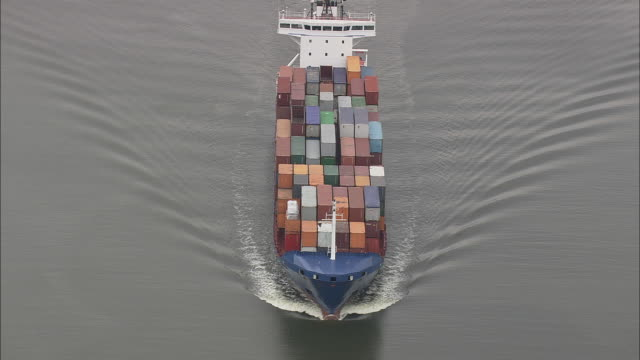 Overhead Container Ship On Kiel Canal