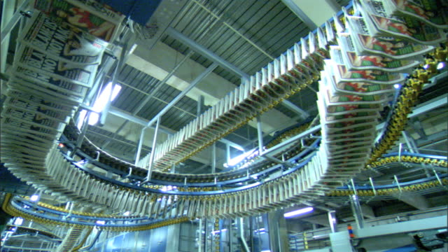 Overhead conveyor system machine with attached hanging papers moving in curves and above in straight lines across warehouse serpentine curve maze of...