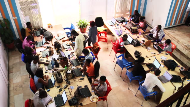 Overhead employees of tech company in Africa