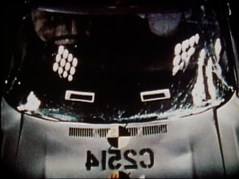1972 overhead front of car crashing in crash test / windshield collapsing / audio - 1972 stock videos & royalty-free footage