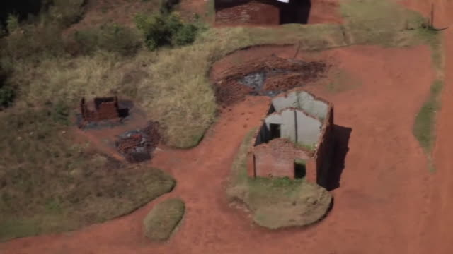 Overhead helicopter shots of abandoned villages in the Ituri region of the Democratic Republic of Congo