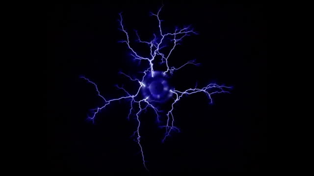 overhead of multiple blue, forked branches - tesla coil stock videos and b-roll footage