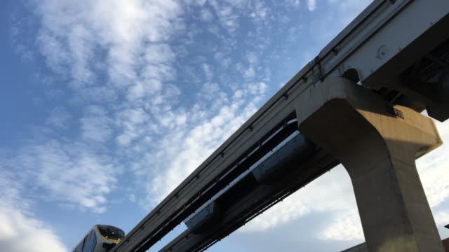 overhead railway train at daegu south korea, clear sky - daegu stock videos and b-roll footage