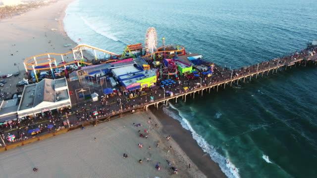 Overhead Santa Monica pier ferris wheel