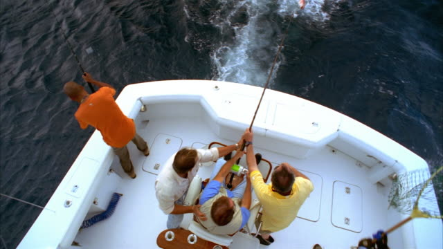 Overhead shot man sitting in fighting chair on yacht and struggling with fish on his line as his friends surround him/ man scooping up red snapper in net/ California
