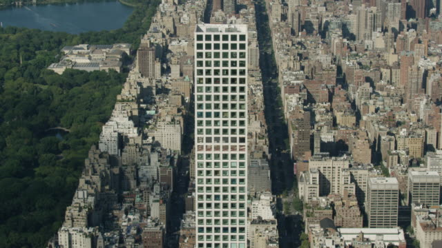 Overhead shot of 432 Park Avenue with New York cityscape in the background