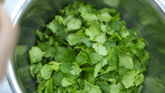 overhead shot of a bowel of parsley