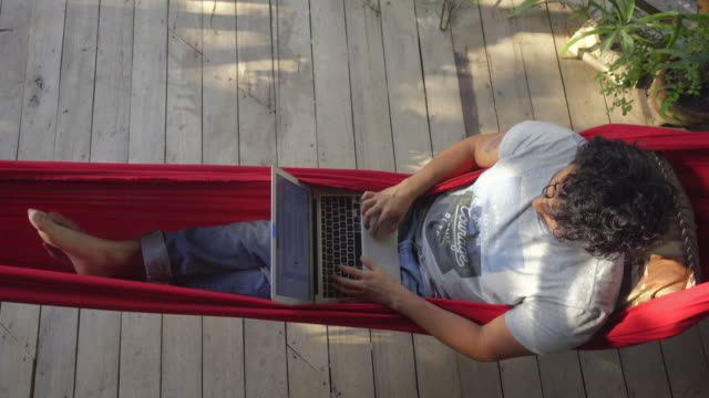 Overhead shot of a young man in a hammock using a computer. Digital nomad working in a remote work. Cabin Retreat - Brief