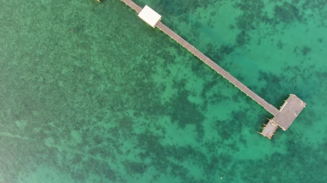 overhead shot of beautiful ocean with long wooden jetty at sunrise, aerial view - jetty stock videos & royalty-free footage
