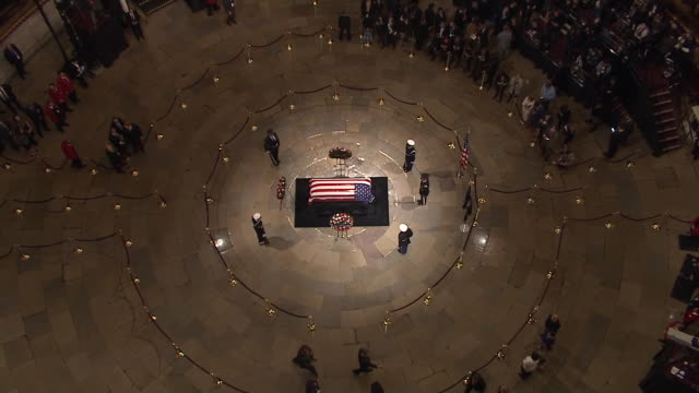 overhead shot of george h.w. bushõs casket lying in state at the united states capitol rotunda on december 3, 2018. - president stock videos & royalty-free footage