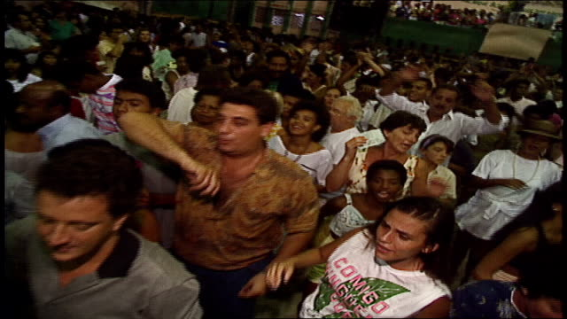 Overhead Shot of Large Crowds of People Dancing in Rio de Janeiro