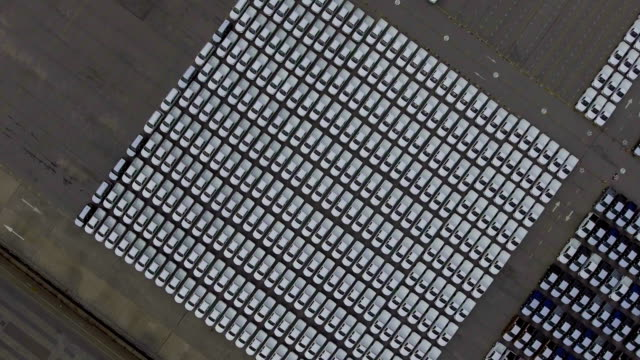 Overhead shot of new cars in the parking lot, Aerial view