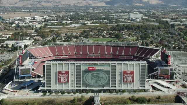 overhead shot of the football field of the levis stadium - levi's stock videos & royalty-free footage