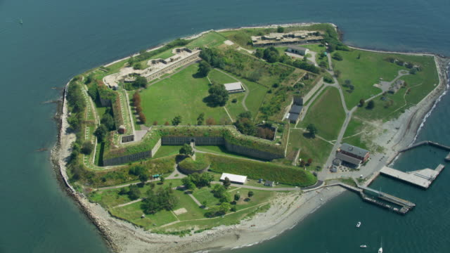 overhead shot of the gate of fort warren - tree fort stock videos & royalty-free footage