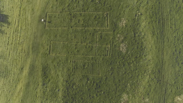 overhead shot of the major excavations of the peasant houses of wharram percy - pull out camera movement stock videos & royalty-free footage