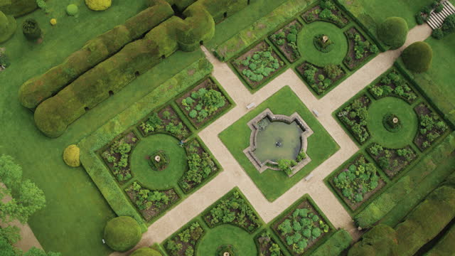 overhead shot of the queens garden at sudeley castle - british royalty stock videos & royalty-free footage