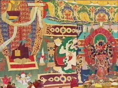 overhead shots of people gathered in bhutan castle square in robes - religious dress stock videos & royalty-free footage