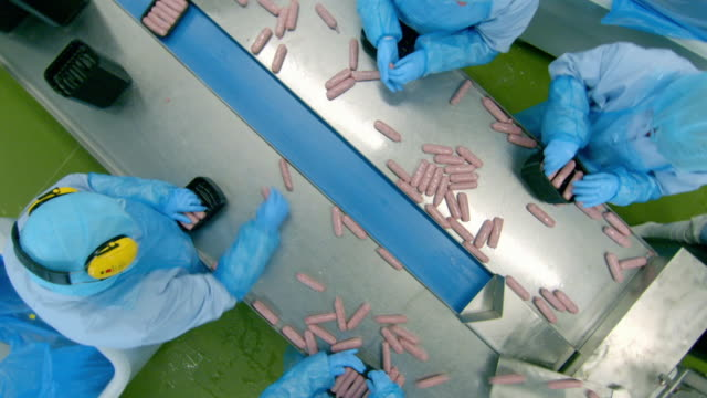 overhead shots workers pack sausages - preparing food stock videos & royalty-free footage