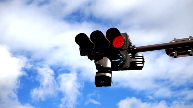overhead traffic light changingใ - road signal stock videos & royalty-free footage