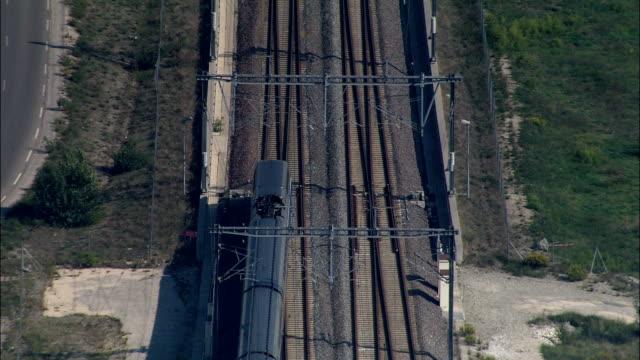 overhead train - aerial view - provence-alpes-côte d'azur, vaucluse, arrondissement d'avignon, france - overhead projector stock videos & royalty-free footage