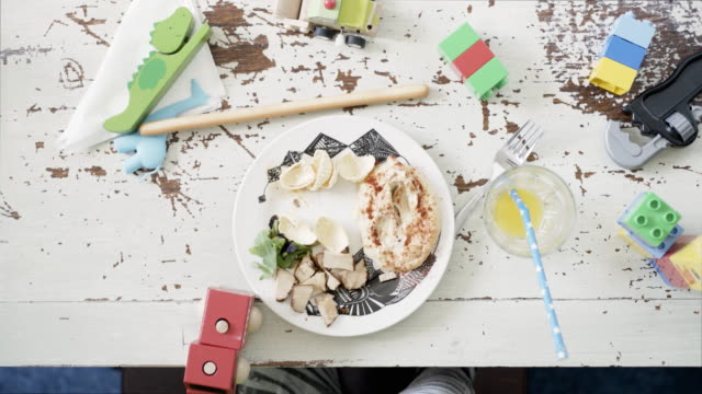 overhead view child eating - 4 5 years stock videos & royalty-free footage