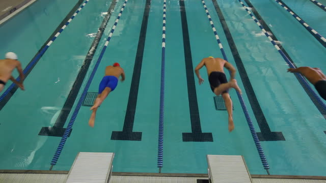 Swimmers step onto a platform and assume their starting positions then dive forward.