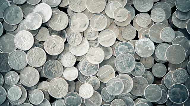 overhead view of a lot of u.s. coins - five cent coin stock videos & royalty-free footage