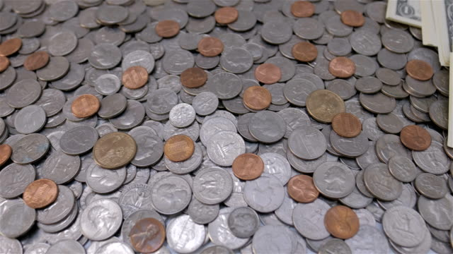 Overhead view of a lot of U.S. coins