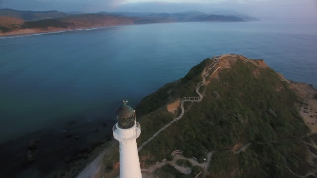 draufsicht der castlepoint leuchtturm bei sonnenaufgang. - stufen stock-videos und b-roll-filmmaterial