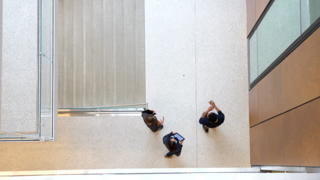 ms overhead view of coworkers in discussion while walking down office stairs - university of washington stock videos & royalty-free footage